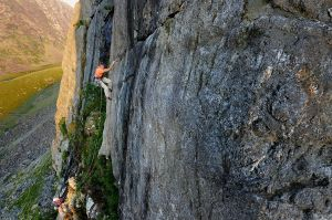 Neil Foster on pitch 2, Cold Fusion (E4), The Mot, Snowdonia