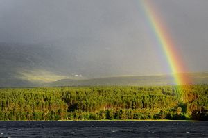 Inbound rain shower over Loch Morlich