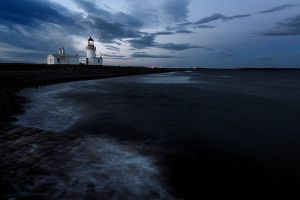 Dusk falls over Chanorny Point Lighthouse