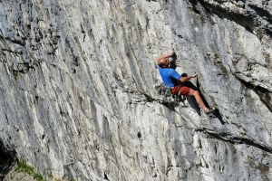 Paul Reeve demo'ing the first crux on Cry Freedom (F8c), Malham