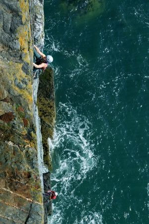 Kata Sourkova on Pitch 1 of True Moments (E2), Castell Helen, Anglesey