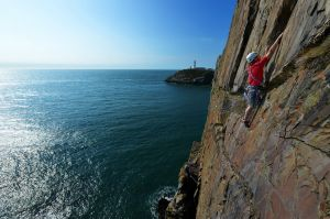 Paul Philips on Pitch 2 on True Moments (E2), Castell Helen, Anglesey
