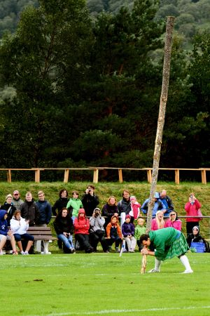 Tossing the caber at Newtonmore Games