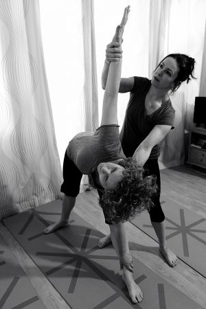 Ruth putting Jill through her yoga paces