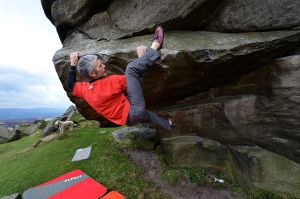 Yours truly - supervised by Simba - putting the new Pinks thru their paces on the age old classic Hampers Hang (Font 7a)