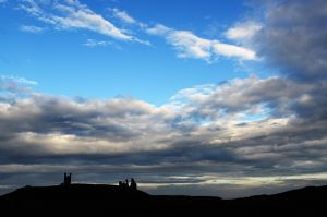 Dunstanburgh Castle doing an impression of The Mittens in Monument Valley