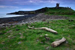 Night falls over Dunstanburgh Castle