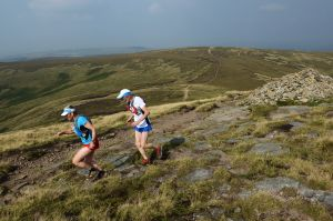 Sarah and Tony Whitehouse heading heading towards Kinder Downfall, Peak District