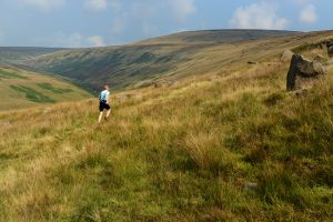 Ian Winterburn heading off up Hey Moss, Peak District