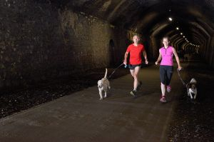 Becky Lounds and myself running through Chee Dale Tunnels, Peak District