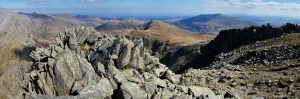 Tryfan, the top of Bristly Ridge and Y Foet Goch