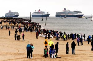 Three Queens meet up off Perch Rock on the Mersey