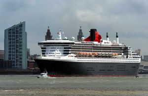 Liverpool's Albert Dock sea front and the QM2