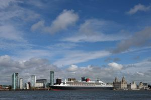 The QM2 moored at Albert Docks, Merseyside