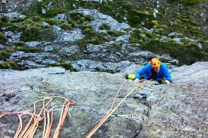 Paul seconding Pitch 1 Great Wall, Cloggy