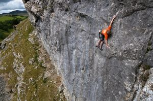 Climbing 2012:March - Craig Bailey on Climb High E4 6b at Dinbren