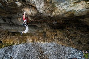 Climbing 2012:May - Neil Mawson on Stiff Upper Lip Extension in Pigeon Cave