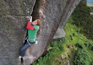Climbing 2013:Nov_Pete Whittaker on Goliath (E5 6a), Burbage South, Peak District